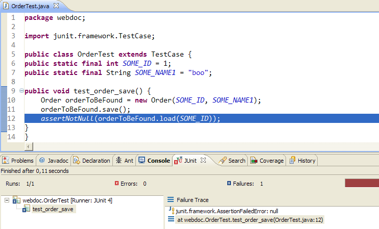 a common error situation in junit
